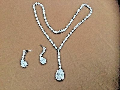 Charles Winston Sterling Silver CZ's Necklace & Earring Set