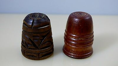 Vintage Set of 2 Wooden Hand Turned Swirl Carved Thimbles Sewing Collectibles