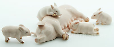 Figurine Animal Ceramic Statue Pink Pig Family Feeding - CFP001