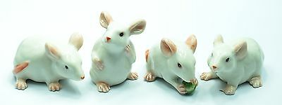 Figurine Animal Ceramic Statue Miniature 4 White Rat Mouse Mice - CCK007