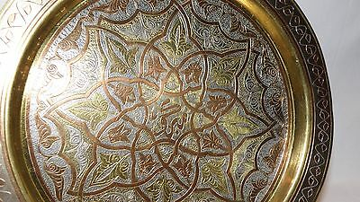 Islamic Egyptian Arabic Persian Brass Copper Silver Plate Platter