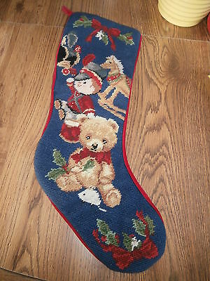 Vintage Needlepoint Stocking Teddy Bear Rocking Horse Drummer Boy 70's