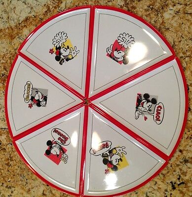 Disney World Parks Store Mickey Minnie Mouse 6 Pizza Plates Set Family Dinner