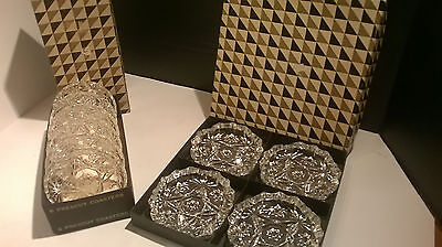 Vintage 6 Anchor Hocking Star Of David Prescut Coasters Eapc & 4 Ash Trays