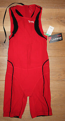 NEW TYR Men's CARBON Zipperback SHORTJOHN TEMS6A RED BLACK WHITE - USA MADE - XL