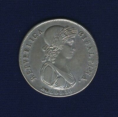 Italy /italian States  Cisalpine Republic  (1801) 30 Soldi Silver Coin, Xf, Nice