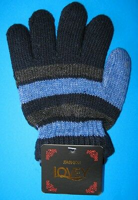 One Pair KIDS Thick Winter Knitted Gloves NWT Navy Blue Grey Stripe FREE POST