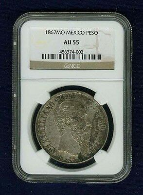 MEXICO EMPIRE OF MAXIMILIAN 1867-Mo 1 PESO SILVER COIN, CERTIFIED NGC AU-55
