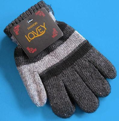 One Pair KIDS Thick Winter Knitted Gloves NWT Black Grey Stripes FREE POST