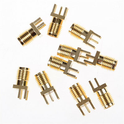 10pcs SMA Female Jack PCB Edge Mount Solder 0.062'' RF Adapter Connector SU
