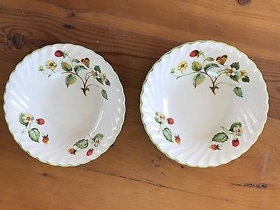 "pair James Kent ""STRAWBERRY"" Old Foley 2 cereal bowls,butterflies"