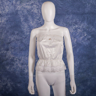 Vintage Sliperfection Strapless White Nylon Lace Camisole Lingerie M Made in USA