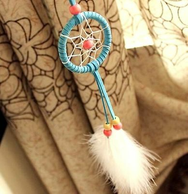 Blue Handmade Dream Feather Catcher Car Wall Hanging Home Decor Ornament Gift