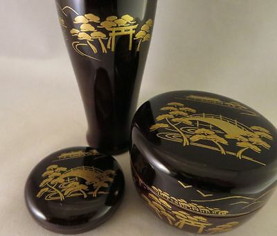 JAPANESE TRADITIONAL NATSUME LACQUER WOOD TEA CADDY Kogo Chasen stand 3 pcs
