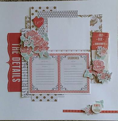 Handmade Scrapbook Layout - Wedding (7 more matching layouts see other listings)