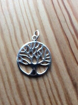 Sterling Silver - Solid 925 Tree of Life Pendant (18mm) - Protection - Knowledge