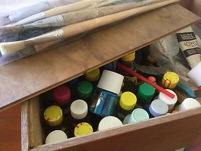 Mixed lot of artists supplies In Artists Box.