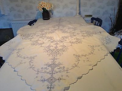 Vintage Lovely Large Hand Made Madiera Tablecloth
