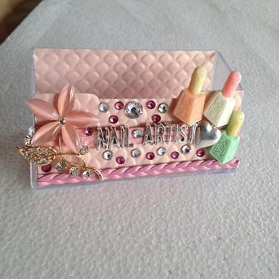 Bling crystal Nail Artist business Card Holder Display Stand