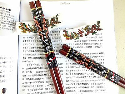 2 Japanese Lucky Dragon Brown Chopsticks Stand Chinese Birthday Dinner Party