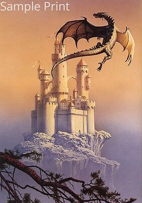 Fantasy Art Dragon and Castle In the Sky A4 poster print