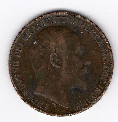 Great Britain Edward VII Penny 1d 1909 Nice coin R35369