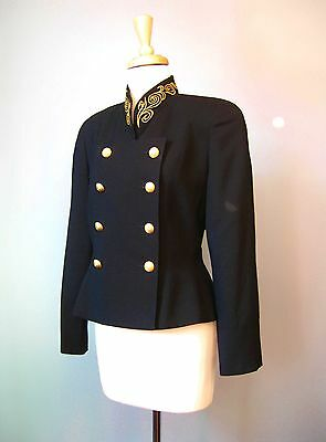 Vintage 1980s Ilie Wacs Cropped Black Embroidered Military Style Jacket
