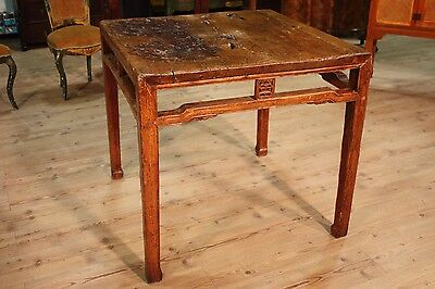 ANCIENT GRANDE TABLE EASTERN DECORATIONS CARVED CHINESE PERIOD '800 L 94 cm