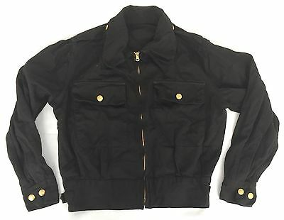 Original 1940s Mens Black Cotton Sports Jacket CC41 Era 1930s 36 Lightening Zip