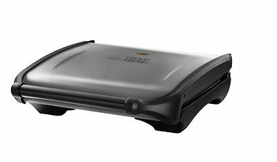 George Foreman Seven Portion Family Grill Angled Design & Drip Tray Silver NEW