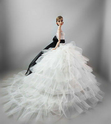 White Fashion Royalty Princess Dress/Clothes/Gown For Barbie Doll F02