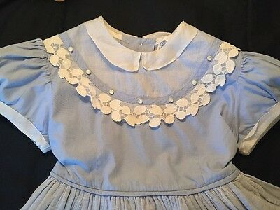 Vintage 50s Child Girls Doll blue Party school Dress Label size 3.    Fabulous !