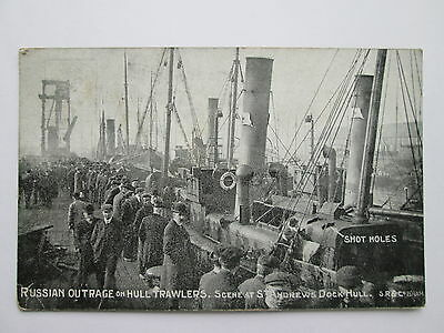 Vintage Postcard - Trawlers at St Andrews Dock , Hull . Dogger Bank Incident .