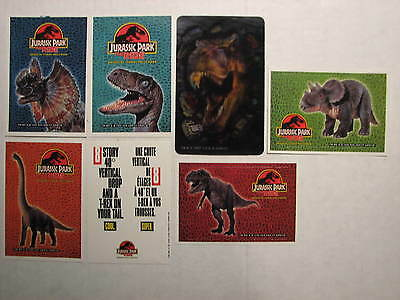 Jurassic Park - 6 Ride stickers and 1 Hologram card