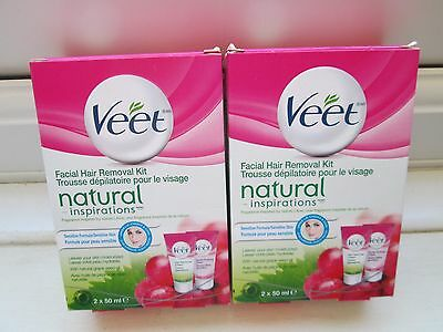 2 x Veet Natural Inspirations Facial Cream Kit Sensitive Formula NEW + BOXED