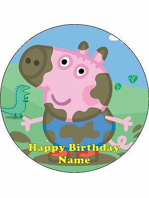 PEPPA PIG GEORGE Edible Wafer Paper Birthday Cake Decoration & 12 Cupcake Topper