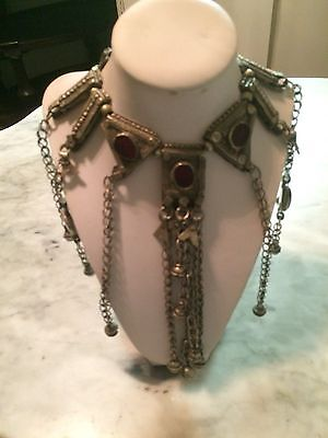 antique yemen tribal bedouin boho hippy belly dance labba silver necklace