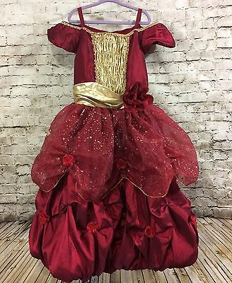 Disney Store Girls M 7/8 Princess Belle Beauty and the Beast Red Dress Costume