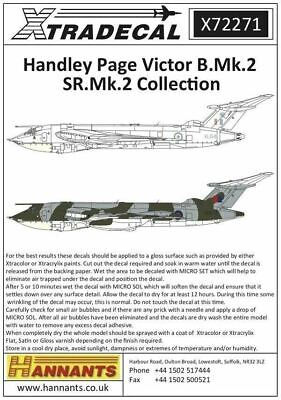 Xtradecal X72271 1/72 Handley-Page Victor B.2 Collection Model Decals