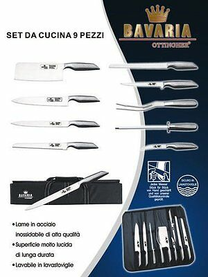 Set 9 Coltelli Professionali Da Chef Bavaria  Acciaio Inox  18/10