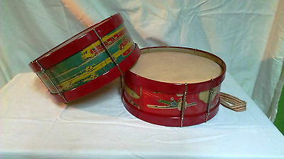 Wow! Rare 2 Vintage Tin Toys  Drum With Super Condition