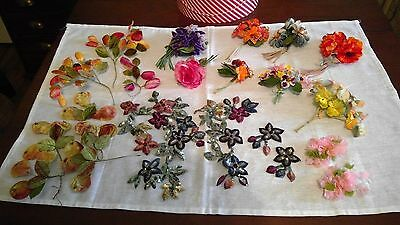 Vintage Millinery Scraps & Fabric Corsages - lot of 22 - with Hat Box