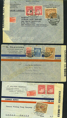 Columbia 1943 Three Wartime Censored Covers All To Us Destinations