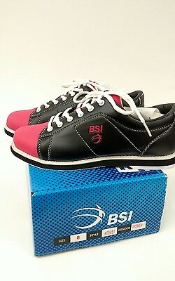 BSI Women's #651 Bowling Shoes, Black Pink  00651 SIZE 8 NEW IN BOX Free Ship