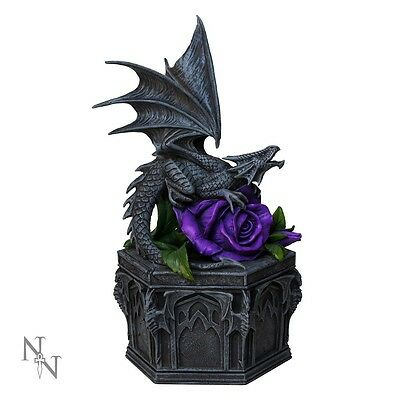 Gorgeous Anne Stokes 'dragon Beauty' Trinket Box Gothic Purple Rose