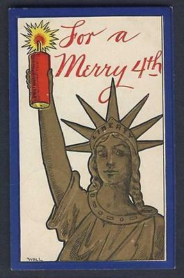 PATRIOTIC / INDEPENDENCE DAY Statue of Liberty fire cracker WALL signed postcard