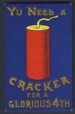 PATRIOTIC / INDEPENDENCE DAY large fire cracker WALL signed embossed postcard