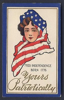 PATRIOTIC / INDEPENDENCE DAY Miss Independence WALL signed embossed postcard