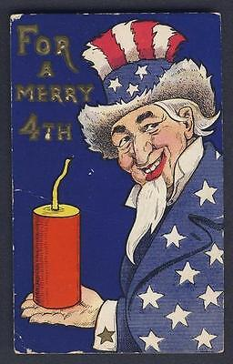 PATRIOTIC / INDEPENDENCE DAY - Uncle Sam - WALL signed embossed postcard