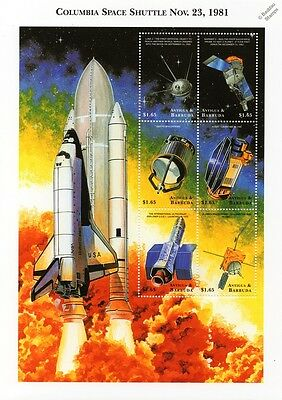 Space Shuttle COLUMBIA/Exploration Satellites/Probes Stamp Sheet (1999 Antigua)